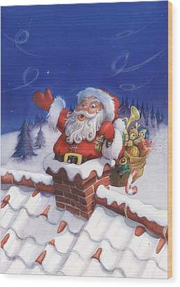 Santa Chimney Wood Print by Andy Catling