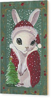 Santa Claus Bunny Wood Print by Sylvia Pimental