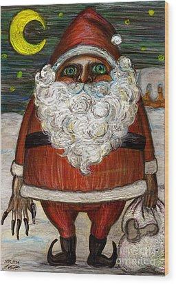 Santa Claus By Akiko Wood Print by Akiko Okabe