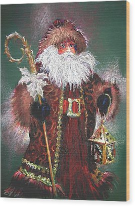 Santa Claus -dressed All In Fur From His Head To His Foot. Wood Print by Shelley Schoenherr