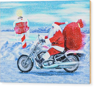 Wood Print featuring the mixed media Santa Claus Has A New Ride by Mark Tisdale