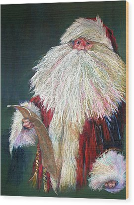 Santa Claus  Making A List And Checking It Twice Wood Print by Shelley Schoenherr