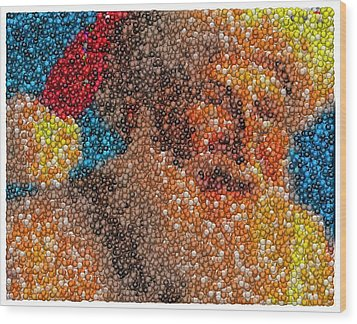 Wood Print featuring the mixed media Santa Claus Mm Candy Mosaic by Paul Van Scott