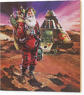 Santa Claus On Mars Wood Print by English School