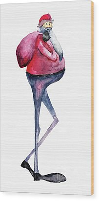 Santa Claus, Watercolor Illustration Wood Print