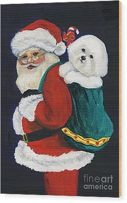 Santa Claus With Bichon Frise Wood Print