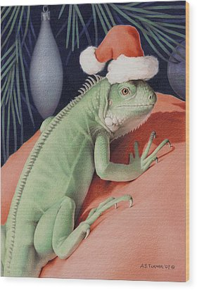Santa Claws - Bob The Lizard Wood Print by Amy S Turner