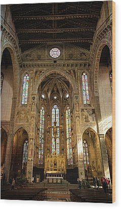 Wood Print featuring the photograph Santa Croce Florence Italy by Joan Carroll
