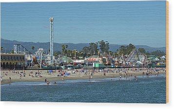 Santa Cruz Boardwalk And Beach - California Wood Print by Brendan Reals