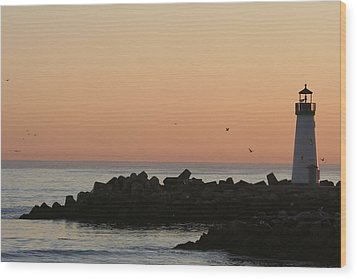 Santa Cruz Harbor Lighthouse Wood Print by Holly Ethan