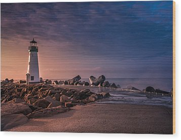 Santa Cruz Harbor Walton Lighthouse Wood Print