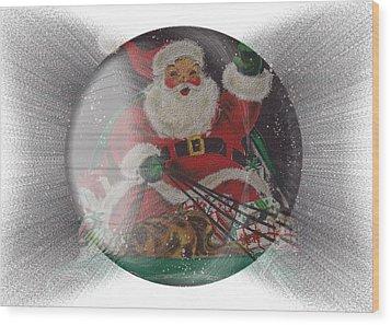 Santa Delivering Gifts Wood Print