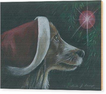 Santa Dog Wood Print
