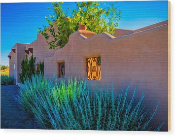 Wood Print featuring the photograph Santa Fe Adobe by Ken Stanback
