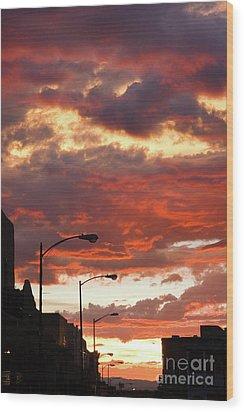 Santa Fe At Dusk New Mexico Wood Print by Julia Hiebaum
