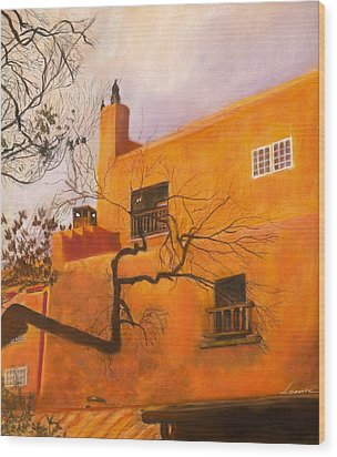 Santa Fe Building Wood Print by Leonor Thornton