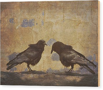 Santa Fe Crows Wood Print by Carol Leigh