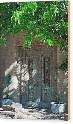 Santa Fe Door Wood Print by David Patterson