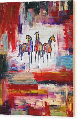 Santa Fe Dreams Horses Wood Print by Jennifer Godshalk