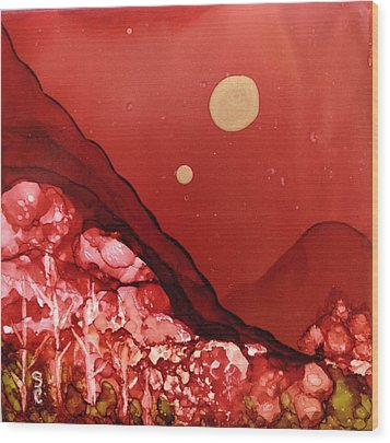 Santa Fe Moonrise Wood Print by Suzanne Canner