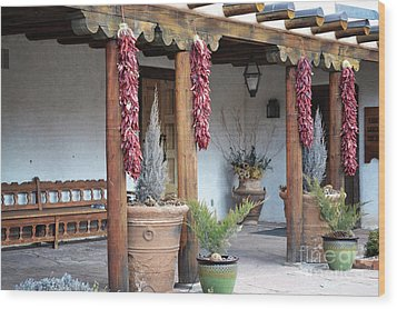 Wood Print featuring the photograph Santa Fe Red Chili Ristra Porch by Andrea Hazel Ihlefeld