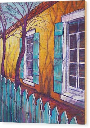 Santa Fe Shutters Wood Print by Candy Mayer