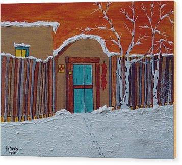 Wood Print featuring the photograph Santa Fe Snowstorm by Joseph Frank Baraba