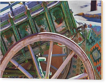 Wood Print featuring the photograph Santa Fe Spokes by Stephen Anderson
