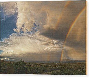 Santa Fe Summer Sky With Double Rainbow Wood Print