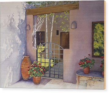 Santa Fe Sunlit Patio Wood Print