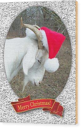 Santa Goat Wood Print