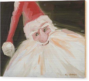 Santa Wood Print by Hil Hawken