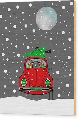 Santa Lane Wood Print by Kathleen Sartoris
