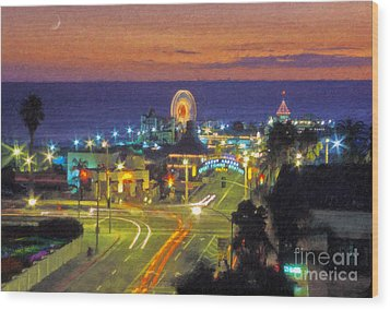 Wood Print featuring the photograph Santa Monica Ca  Pacific Park Pier by David Zanzinger
