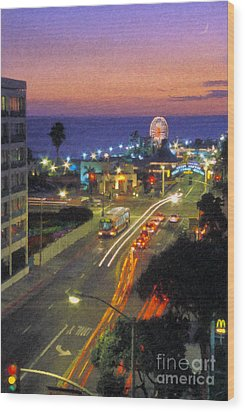 Wood Print featuring the photograph Santa Monica Ca Pacific Park Pier  Sunset by David Zanzinger