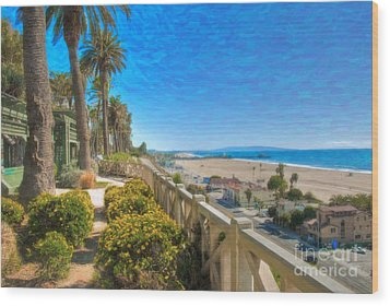Santa Monica Ca Palisades Park Bluffs Gold Coast Luxury Houses Wood Print by David Zanzinger