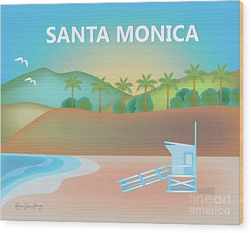 Santa Monica California Horizontal Scene Wood Print by Karen Young