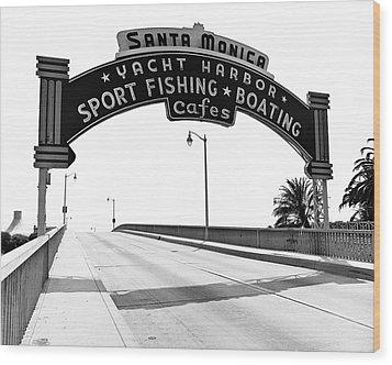 Santa Monica Pier Arch Wood Print by Joe  Palermo