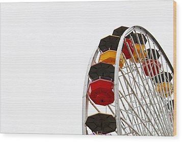 Santa Monica Pier Ferris Wheel- By Linda Woods Wood Print by Linda Woods