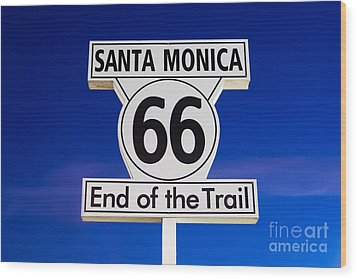 Santa Monica Route 66 Sign Wood Print by Paul Velgos