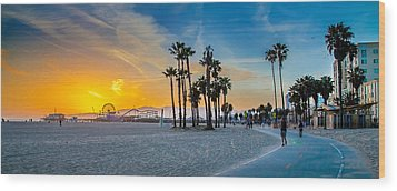 Santa Monica Sunset Wood Print by Az Jackson