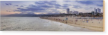 Santa Monica Sunset Panorama Wood Print