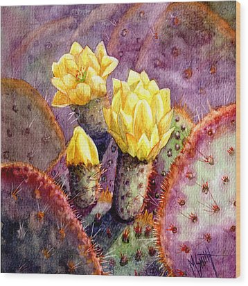 Wood Print featuring the painting Santa Rita Prickly Pear Cactus by Marilyn Smith