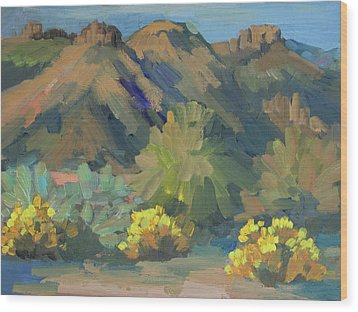 Wood Print featuring the painting Santa Rosa Mountains And Brittle Bush by Diane McClary