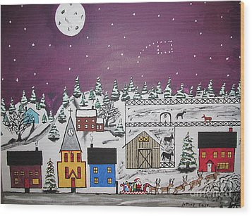 Santa Under The Little Dipper Wood Print by Jeffrey Koss
