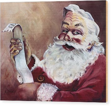 Santa With A List Wood Print by Sheila Kinsey