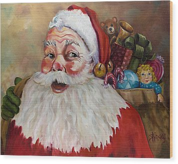 Santa With Bag Of Toys Wood Print by Sheila Kinsey