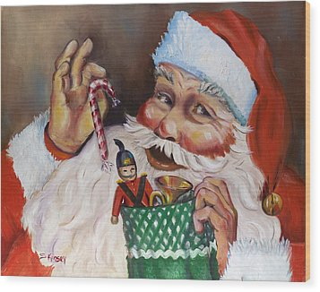 Santa With Stocking Wood Print by Sheila Kinsey