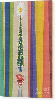 Santa's Christmas Tree Wood Print by Stanley Cooke