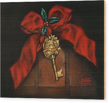 Santa's Key Wood Print by Debi Frueh